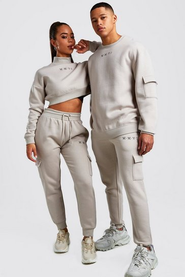 Womens Stone Hers Crop Sweat & Cargo Jogger Set