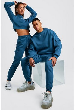 Womens Petrol Hers Crop Sweat & Cargo Jogger Set