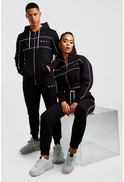 Black Hers Funnel Zip & Jogger Tracksuit Set