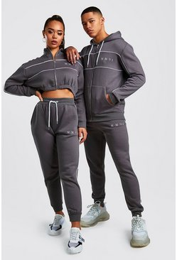 Charcoal Hers Funnel Zip & Jogger Tracksuit Set