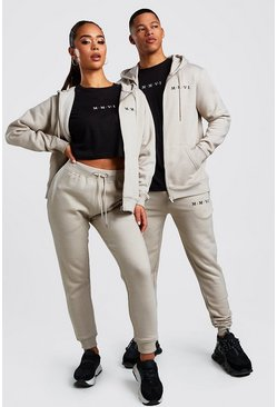 Hers 3pc Zip Hoodie Crop & Jogger Set, Stone, ЖЕНСКОЕ
