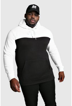 Mens Black Big And Tall Colour Block Hoodie w/ White