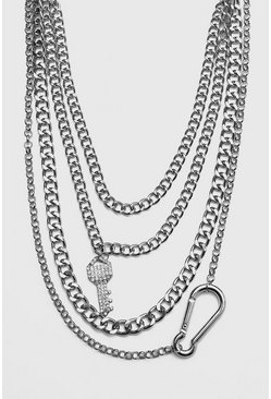 Mens Silver Iced Out Multi Layer Key Necklace