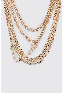 Gold Iced Out Multi Layer Key Necklace