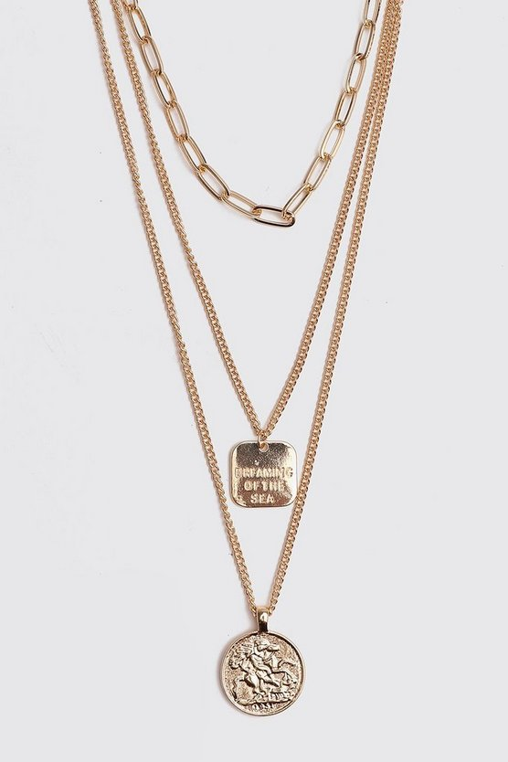 Gold Multi Chain Coin Necklace