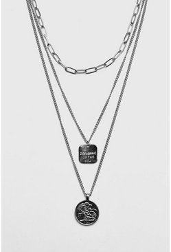 Herr Silver Multi Chain Coin Necklace
