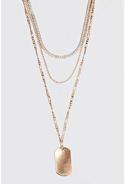 Herr Gold Triple Layer Dog Tag Necklace