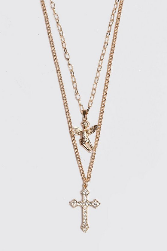 Gold Double Layer Cherub Necklace