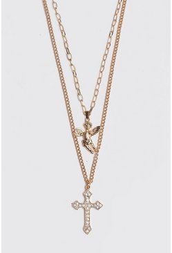 Mens Gold Double Layer Cherub Necklace
