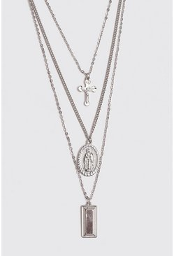 Mens Silver Multi Layer Cross Necklace