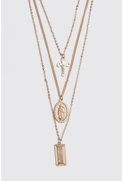 Herr Gold Multi Layer Cross Necklace