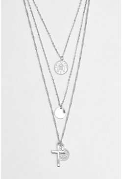 Multi Layer Coin And Cross Necklace, Silver