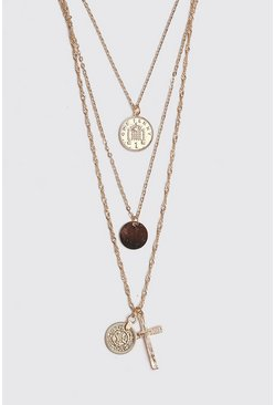 Mens Gold Multi Layer Coin And Cross Necklace