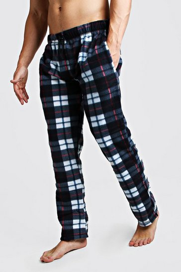 Mens Black Check Polar Fleece Lounge Pant