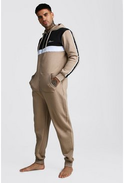Mens Taupe MAN Script Colour Block Onesie