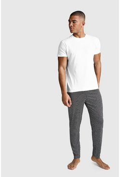 Dot Print Lounge Set, Black, HOMBRE