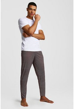 Mens Burgundy Dot Print Lounge Set