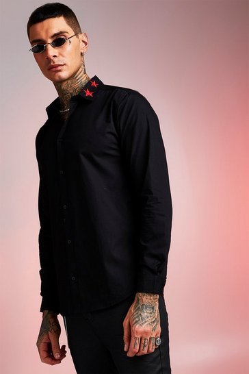 Mens Black Long Sleeve Shirt With Star Embroidered Collar