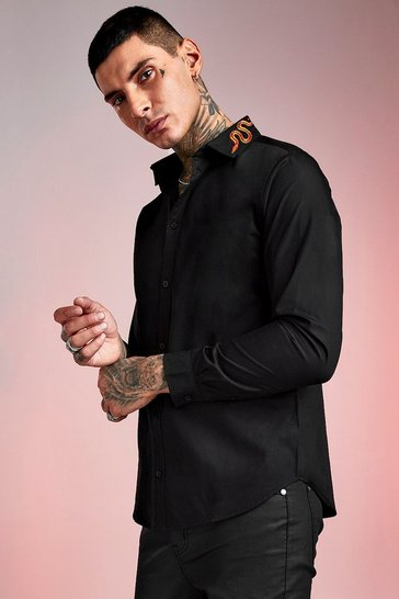 Mens Black Snake Embroidered Collar Long Sleeve Shirt