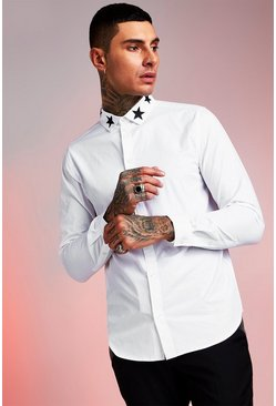 Star Embroidered Collar Long Sleeve Shirt, White, HOMBRE