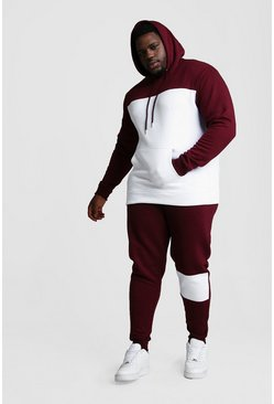 Big And Tall Colour Block Tracksuit, White, Uomo