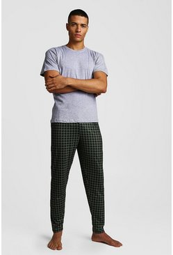 Green Houndstooth Print Lounge Set