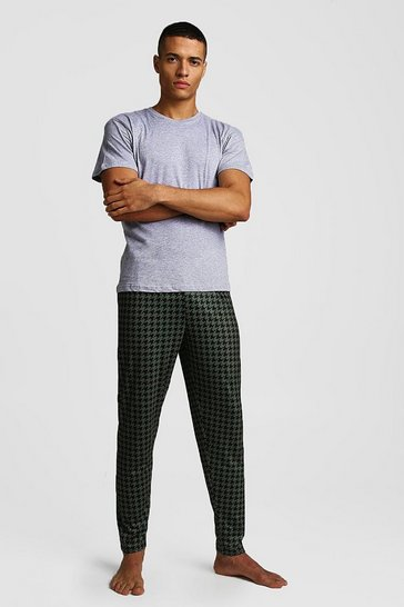 Mens Green Houndstooth Print Lounge Set