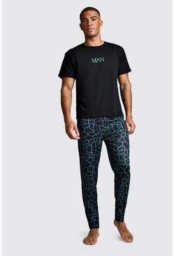 Black MAN Dash Animal Print Lounge Set