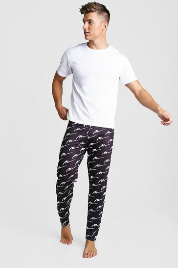 Mens Black MAN Script All Over Print Lounge Set