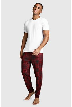 Mens Red Check Print Lounge Set