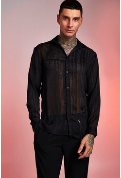 Loose Fit Long Sleeve Semi Sheer Stripe Shirt, Black, HOMMES