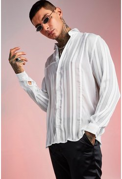 Loose Fit Long Sleeve Semi Sheer Stripe Shirt, White, HERREN