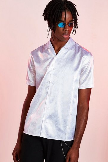 White Satin Shimmer Revere Collar Short Sleeve Shirt