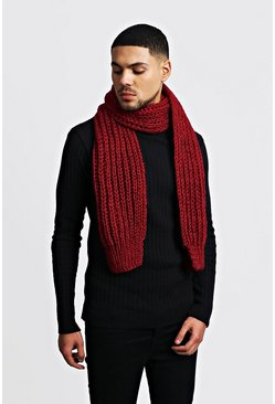 Staight Chunky Knit Scarf, Burgundy