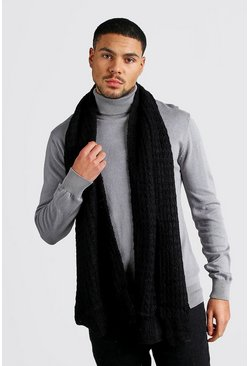 Mens Black Knitted Scarf