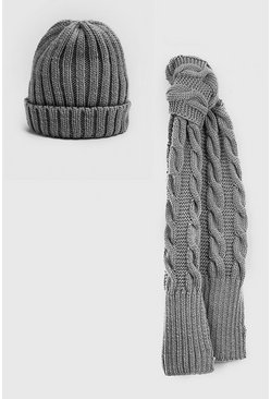 Mens Grey Fisherman Beanie & Scarf Set