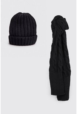 Mens Black Fisherman Beanie & Scarf Set