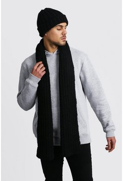 Knitted Scarf & Beanie Set, Black
