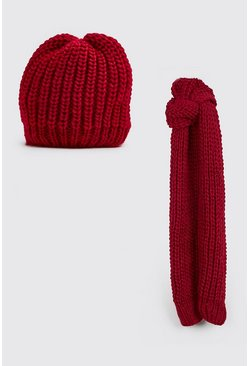 Knitted Scarf & Beanie Set, Burgundy