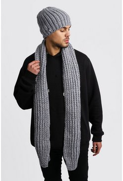Knitted Scarf & Beanie Set, Grey