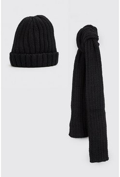 Black Fisherman Beanie And Scarf Set