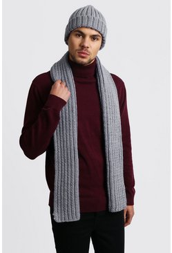 Herr Grey Fisherman Beanie And Scarf Set