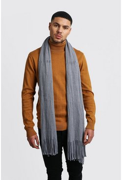 Oversized Rib Knit Scarf, Grey, МУЖСКОЕ