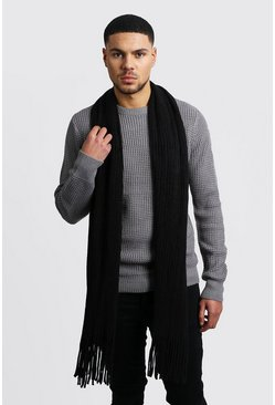 Oversized Rib Knit Scarf, Black, МУЖСКОЕ