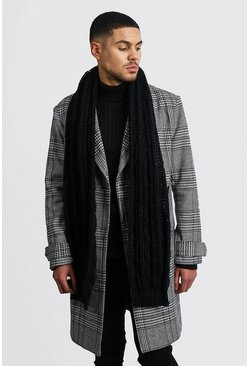 Chunky Knit Scarf, Black, HOMMES