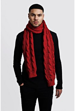 Mens Burgundy Chunky Knit Scarf