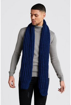 Straight Chunky Knit Scarf, Navy, МУЖСКОЕ