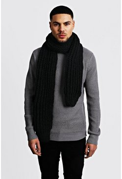 Mens Black Straight Chunky Knit Scarf