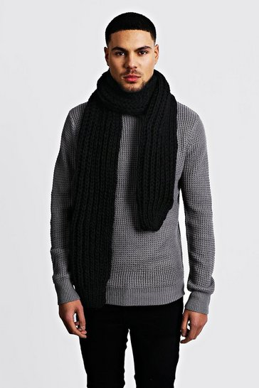 Black Straight Chunky Knit Scarf