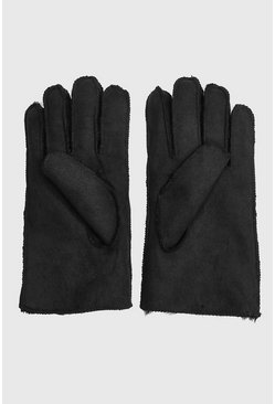 Faux Suede Fur Lined Gloves, Black, МУЖСКОЕ